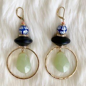 New Anthropologie Ceramic Wood Stone Hoop Earrings